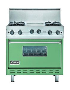 We Can't Get Enough: Blue + Green Kitchen and Bath Appliances Antique Kitchen Stoves, Antique Stove, Rustic Kitchen, Vintage Kitchen, Kitchen Ideas, Kitchen Inspiration, Antique Wood, Kitchen Supplies, Viking Stove