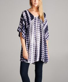 Another great find on #zulily! Navy & White Abstract V-Neck Tunic - Plus #zulilyfinds