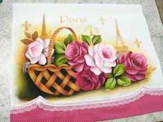 pintura em tecido cesto de rosas Paris