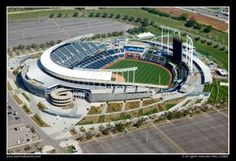 Aerial of Kauffman Stadium, home of the Major League Baseball Royals in Kansas City, Missouri