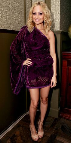 Nicole Richie in #purple velvet mini dress by Emilio Pucci, along with nude colored pumps from her own House of Harlow.