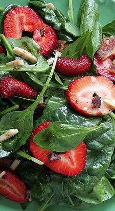 Hot Spinach Bacon and Strawberry Salad