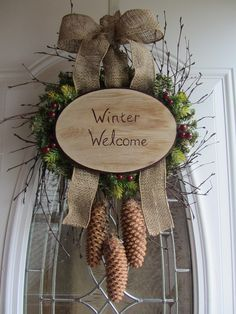 Image detail for -Winter Wreath - Holiday Wreath - Christmas Wreath - Front Door Wreath www.etsy.com Diy definately love !!