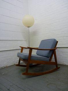mid century Modern DANISH style ROCKER LOUNGE Chair
