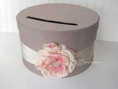 Such a cute idea. Wedding Card Box  Made to Order by LaceyClaireDesigns on Etsy, $67.00