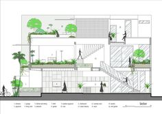 Images by Dũng Huỳnh. Starting a new day with a cup of coffee in small house, it is a habit that never give up every morning of young couple. Architecture Design, Tropical Architecture, Architecture Graphics, Garden Architecture, Concept Architecture, Section Drawing, Narrow House, Architectural Section, Small House Plans