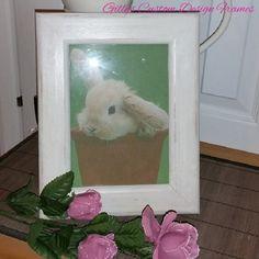 ♥♥ Custom Designed White Distressed Shabby Chic Solid Pine Photo Frame ♥♥