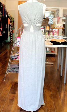 Cut Out Twist Back Jersey Maxi Dress - Light Heather Gray