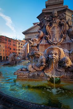 Pantheon fountain in front of the Pantheon in Rome, Italy