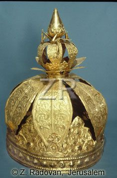 GOLD MADE TORAH CROWN FROM A SYNAGOGUE IN COCHIN, KERALA, INDIA. THE CROWN WAS PRESENTED TO THE JEWISH COMMUNITY BY MAHARAJA OF TIRVAJER ON HANUKKAH 1808