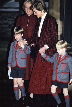 Princess Diana & Sons At Wetherby School Christmas Celebration 1989 & The Princes In 1998