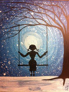 """Girl on swing paintingI """"will wait forever""""  Michael H Prosper"""