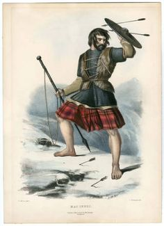 Clans of the Scottish Highlands 1847 Plates 1-54, Plate 027, 1847.  The Costume Institute Fashion Plates. The Metropolitan Museum of Art, New York. Gift of Stanley A.Weeks, 1989-91 (b17520939) | A member of the MacInnes clan seems to have forgotten his shoes on the way to battle. #scotland
