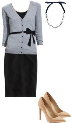 """Navy Pencil Skirt"" by bblainc on Polyvore"