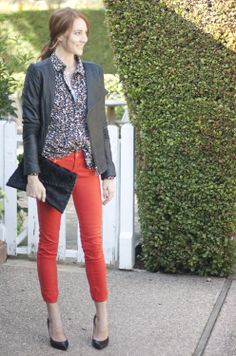 red denim / floral top / black leather + heels
