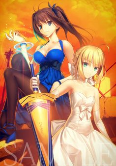 Fate/Stay Night: Master and Seervant, Rin and Saber.