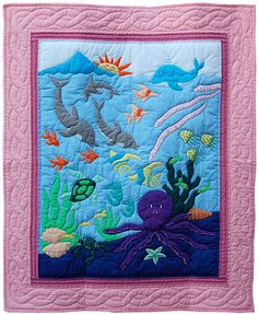 Hawaiian Quilts - Pink Border Octopus Garden - Baby Blanket / Kids Wall Hanging Quilt - IslandArtStore.com