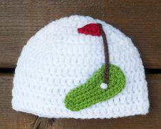 BABY GOLF BEANIE Crocheted Hat Girls or Boys Photo Prop Baby