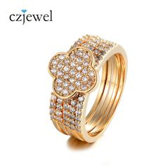 Buy now Luxury Gold/Silver Color Full AAA Zircon Four Leaves Ring Set Female Wedding Bands 5pcs/Set just only $5.02 with free shipping worldwide  #weddingengagementjewelry Plese click on picture to see our special price for you