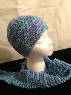 Shades of Blue and Violet Head Hugger hat and scarf by 1finedesign, $20.00