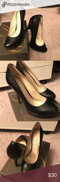"""Enzo Angiolini Black High Heels Enzo Angiolini Black Platform High Heels. Size 8M (US) black leather, cushioned footbed, covered heel (height of which is like 4 1/2"""")... & 1"""" platform.   Some slight indications of previous use-but really slight...otherwise in an next-to-new condition. Given that I still have the box, & that I never wore these out of my apartment (as best I can tell or recall)...I'm going to deem these never fully used. Enzo Angiolini Shoes Heels"""