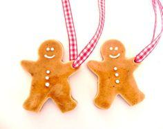 Little Gingerbread Men Ceramic Christmas Ornaments, Set of 2