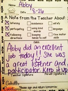 Amy was tired of spending all of her energy on the negative behaviors in her classroom. That's when she decided to change her own behaviors. New approach for next school year Communication Avec Les Parents, Parent Teacher Communication, Parent Notes, Future Classroom, School Classroom, Classroom Ideas, Classroom Libraries, Classroom Behavior Management, Discipline In The Classroom