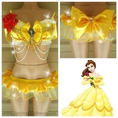 Princess Belle Inspired Costume, Women Costume,Rave Wear, Sexy Belle,  Belle Costume, Rave Halloween Costume Outfit,  Princess Costume