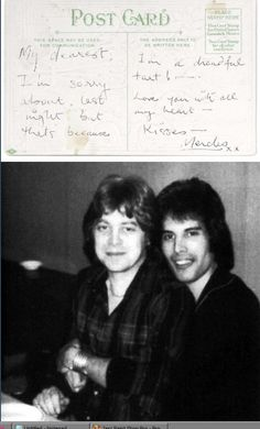 A card from Freddie Mercury to David Minns,1970s, reading, My dearest, I'm sorry about last night but that's because I'm a dreadful tart! - Love you with all my heart - Kisses - Mercles xx, the vintage postcard illustrated with roses and text With every Good Wish, written in black ballpoint, 14 x 9cm. #rare