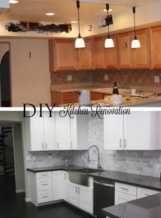 DIY #Kitchen renovation. Before & Afters!    #house #design http://stylesizzle.com/lifestyle/diy-kitchen-makeover-house-renovations