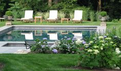 Courtesy of Houzz. Lvoe this pool! Traditional Landscape by Austin Ganim Landscape Design, LLC Landscaping Around Pool, Outdoor Landscaping, Outdoor Spaces, Outdoor Living, Outdoor Photos, Kleiner Pool Design, Small Pool Design, Rectangular Pool, Backyard Paradise