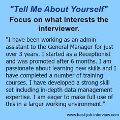 """What to focus on when you are asked """"Tell Me About Yourself."""" Job Interview Answers, Job Interview Preparation, Interview Skills, Job Interview Tips, Job Interviews, Teaching Interview, Resume Writing Tips, Resume Skills, Job Resume"""