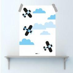 Poster Vliegtuig in de wolken
