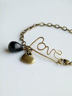 Love brass wire wrapped bracelet with brass chain by DeFactoryshop, zł45.00