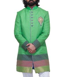 Green Embroidered Jacquard #Sherwani #Indianroots