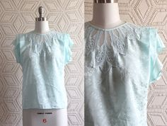 Retro 1980s Pastel Light Blue Lace collar Floral by Liyasvintage, $28.00