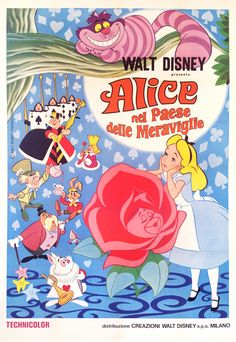 SOLD Alice in Wonderland Film Poster from 1980 Rerelease 55 x 39 Restored & linen-backed. Ask about poster restoration services! Posters Disney Vintage, Disney Movie Posters, Cartoon Posters, Vintage Cartoon, Disney Movies, Walt Disney, Disney Art, Disney Wallpaper, Cartoon Wallpaper