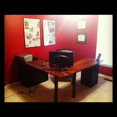 DIY L-shaped-desk. This could be done to match the one we already have for my office.