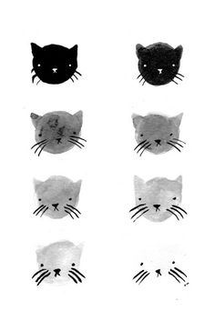Greyscale Kitties Print – Stay Home Club. Print of an original ink drawing by Olivia Mew.