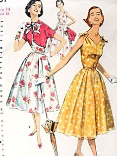 1950s Figure Flattering Dress and Jacket Pattern V Neckline Full Skirt Dress and Bolero Jacket Party or Day Time Summer Dress Simplicity 165...