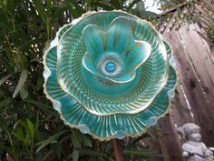 Glass Flower Garden Art Hand Painted in AQUARIUM & GOLD - Garden Decor - Suncatcher - Garden Stake $29.00