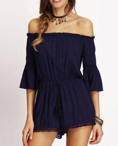 Women's Clothing Honesty Off Shoulder Elegant Playsuit Oblique Collar Solid Color Black White Sexy Bodysuit Slim Party Jumpsuit With Pocket Belt Romper Cheap Sales 50%