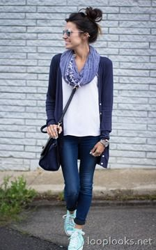 Dark wash skinny jeans, white tee, boyfriend cardigan, tennies, scarf.