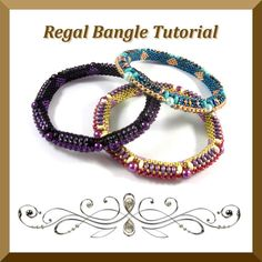 Pdf Tutorial Beadwork Regal Bangle with Super Duo Beads, Pattern, Instructions.