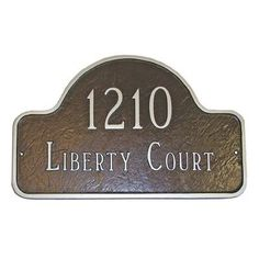 Montague Metal Products Lexington Small Arch Address Plaque Finish: Chocolate / Silver, Mounting: Lawn