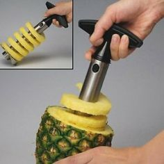 Stainless Steel Pineapple Easy Slicer, Corer. This is awesome. I want one. The acidity of the pineapple bothers my hands a bit when I'm slicing it up.