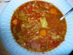 Big Boys Cabbage Soup Recipe  1 Cup Chopped Cabbage 1 Cup Chopped Onion 1/2 Cup Chopped Celery 1/4 Cup Chopped Green Pepper 1 Quart Water 1 Quart Tomatoes 6 Beef Bullion Cubes 3 TBS Sugar Salt and Pepper to taste Few drops of hot sauce (Franks/Tabasco)  Cook all together and best cooked day before.
