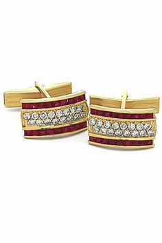 solid gold cufflinks | Solid 14K White Gold and Diamond Sapphire Square Cufflinks | Men's ...