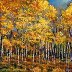 """Whispers and Secrets."" Acrylic landscape painting on canvas of an aspen forest in the mountains of New Mexico during the autumn. Landscape painting by Johnathan Harris."