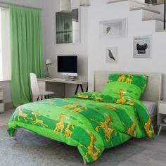 Dětské povlečení zelené žluté pruhy proužky žirafy zvířata safarik Comforters, Blanket, Bed, Furniture, Home Decor, Creature Comforts, Quilts, Decoration Home, Stream Bed
